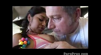 Young Indian Teen Erotic lovemaking with Old American man